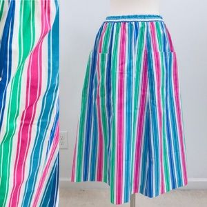 vintage 80s pinstriped skirt a-line blue POCKETS!